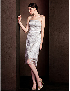 Knee-length Lace Bridesmaid Dress - Silver Sheath/Column Strapless