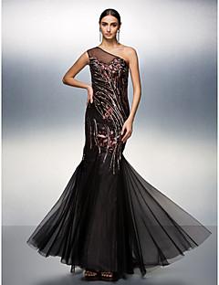 Prom / Formal Evening Dress - Black Plus Sizes / Petite Trumpet/Mermaid One Shoulder Floor-length Tulle