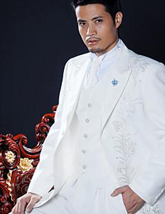 bílý polyester slim fit čtyřdílná smoking