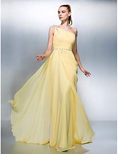 Formal Evening Dress - Daffodil Plus Sizes / Petite Sheath/Column One Shoulder Sweep/Brush Train Georgette