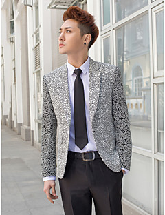 Black&Silver Patterns Slim Fit Tuxedo In Polyester