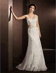 Sheath/Column Wedding Dress - Ivory Court Train V-neck Lace
