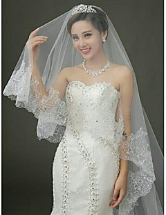 One Tire Chapel Bridal Veils with Vintage Lace Trim with Rhinestones  ASV24