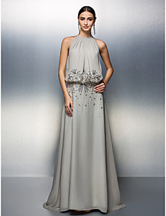 Prom/Formal Evening Dress - Silver A-line Jewel Floor-length Chiffon
