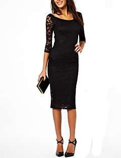 Women's Solid/Lace Black/Purple Dress, Sexy/Bodycon Round Neck ¾ Sleeve Midi