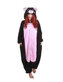 Kigurumi Pajamas Piggy/Pig Leotard/Onesie Halloween Animal Sleepwear Black Patchwork Polar Fleece Kigurumi UnisexHalloween / Christmas /