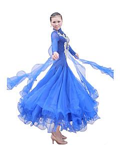 Standardní tance Úbory / Šaty Dámské Výkon / Trénink Mercerovaná bavlna / Elastický hedvábný satén / Tyl Dlouhé rukávy