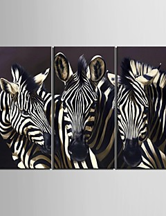 Animal Classique Traditionnel,Trois Panneaux Verticale Imprimer Art Décoration murale For Décoration d'intérieur