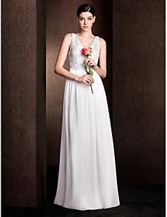 LAN TING BRIDE Floor-length V-neck Bridesmaid Dress - Elegant Sleeveless Chiffon Lace Stretch Satin