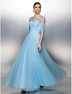 Vestido - Azul Linha-A Jóia Longo Tule