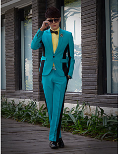Blue&Black Solid Slim Fit Tuxedo In Polyester