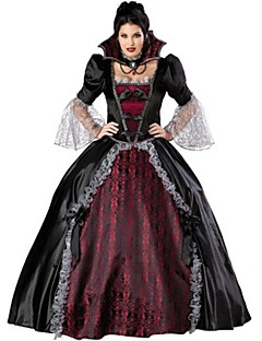 Gothic Vampire Queen Half Sleeves Black Satin & Lace Cosplay Costume
