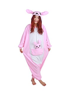Kigurumi Pajamas Kangaroo Leotard/Onesie Festival/Holiday Animal Sleepwear Halloween Pink Patchwork Polar Fleece Kigurumi For Unisex