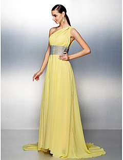 TS Couture® Prom / Formal Evening Dress Plus Size / Petite A-line One Shoulder Sweep / Brush Train Chiffon with Crystal Detailing