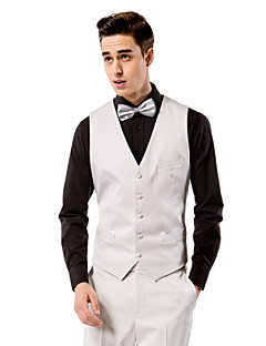 Light Grey Solid Tailored Fit Vest In Polyester