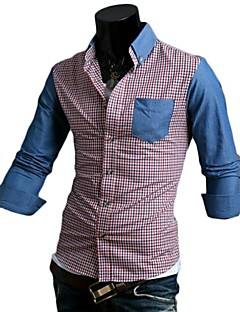Masculino Camisa Social CasualListrado Estampado Estampa Colorida Algodão Poliéster Manga Longa
