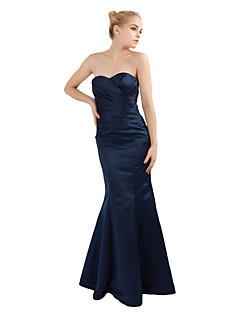 Платье для подружек невесты - Темно-синий  Русалка  В виде сердца Длина до пола Атлас