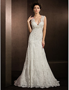 Lanting Bride Sheath/Column Petite / Plus Sizes Wedding Dress-Court Train V-neck Lace