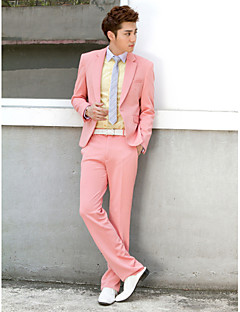 Pink Solid Slim Fit Tuxedo In Polyester