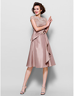 A-line Mother of the Bride Dress - Brown Knee-length Short Sleeve Lace/Taffeta