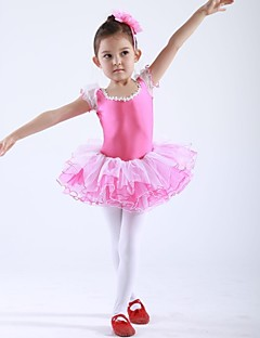 Kids' Dancewear Tops / Dresses&Skirts / Tutus Children's Chiffon / Spandex Short Sleeve 110:50,120:53,130:56,140:59,150:61
