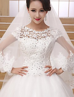 Wedding Veil Two-tier Fingertip Veils Lace Applique Edge 39.37 in (100cm) Tulle