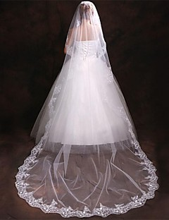 One-tier - Lace Applique Edge Cathedral Veils N/A )