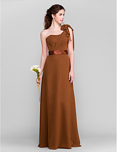Floor-length Chiffon Bridesmaid Dress - Brown Petite Sheath/Column One Shoulder