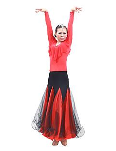 Dança de Salão Vestidos Mulheres Actuação / Treino Cetim / Tule Manga Comprida