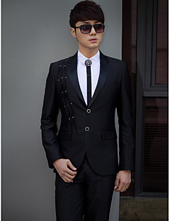 Black Solid slim fit smoking z polyesteru