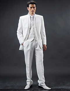 White Polyester Slim Fit Four-Piece Tuxedo