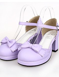 Light Purple PU Leather 6.5CM High Heel Sweet Lolita Shoes With Row