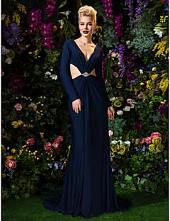 ts couture vestito da sera convenzionale - scuro guaina navy / colonna scollo a V Maglia treno della corte
