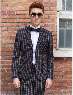 Black Plaid Slim Fit Tuxedo In Polyester