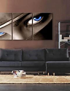 e-home® lona esticada arte do olhar no conjunto de pintura olhos decoração de 3