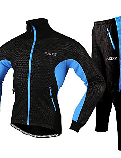 FJQXZ Cycling Jersey with Tights Men's Long Sleeve Bike Jacket Tights Clothing SuitsThermal / Warm Windproof Rain-Proof Wearable