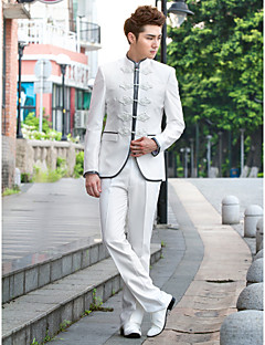 solido bianco sottile smoking fit in poliestere