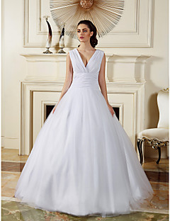 Vestido de Boda - Blanco Corte Evasé Hasta el Suelo - Escote en V Gasa/Tul