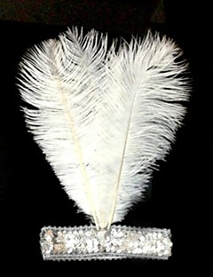 Women's Ostrich Feather Sequins Elastic Carnival Headband
