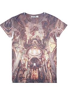 lhx1984 39D 패턴 인쇄 짧은 소매 티셔츠