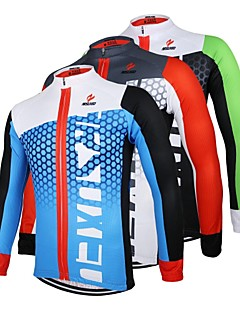 ARSUXEO® Cycling Jersey Men's Long Sleeve Bike Breathable / Quick Dry / Anatomic Design / Front Zipper Jersey / Tops 100% Polyester
