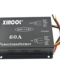 xincol® køretøj bil dc 24v til 12v 60a strømforsyning transformer konverter med dual fan regulering-sort