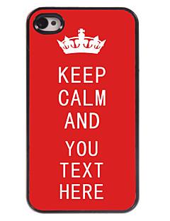 personalizado caso vermelho mantem a calma caso design de metal para iPhone 4 / 4S