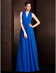 Lanting Bride® Floor-length Chiffon Bridesmaid Dress - A-line / Princess V-neck Plus Size / Petite with Draping / Sash / Ribbon