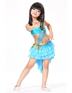 Kids' Dancewear Outfits Children's Training / Performance Chiffon / Sequined / Feathers Feathers /Fur / Pattern/Print / SequinsBlue /
