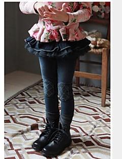 jentas jeans våren barnas jeans vask blonder søm bukser