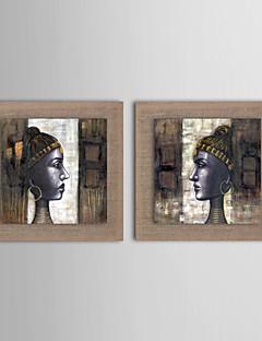 2 el set yağlıboya Modern soyut insanlar gerilmiş çerçeve ile doğal keten boyalı