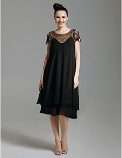 Cocktail Party / Prom / Holiday Dress - Black Plus Sizes / Petite Sheath/Column Scoop Knee-length Chiffon / Tulle