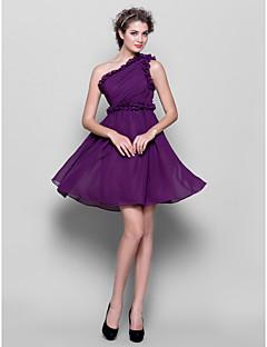 Short/Mini Chiffon Bridesmaid Dress - Grape Plus Sizes / Petite A-line One Shoulder