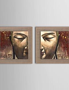 2 el yağlıboya, modern soyut karakter kümesi gerilmiş çerçeve ile doğal keten boyalı